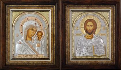 иконы Христа Спасителя и Пресвятой Богородицы