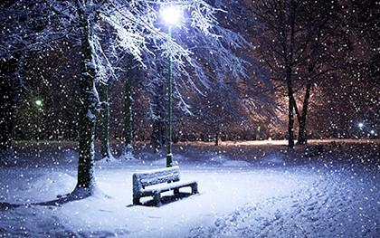лавочка под снегом