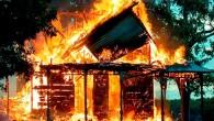 крыша упала от огня