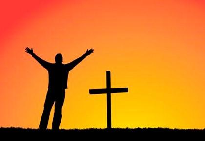 человек, крест, закат